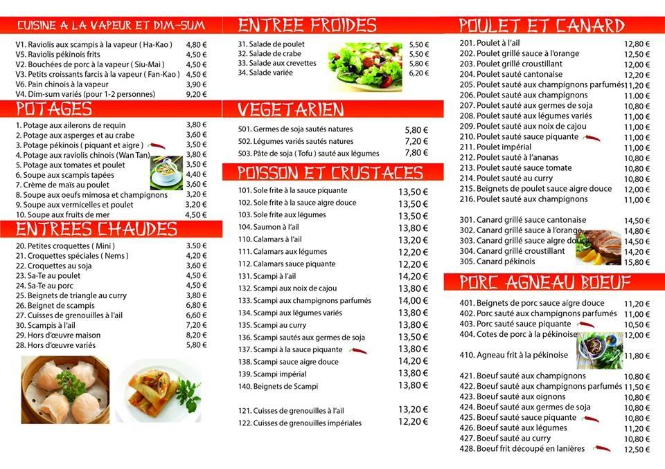 Belle maison menu